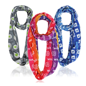 Custom PMS color infinity scarves with your company logo