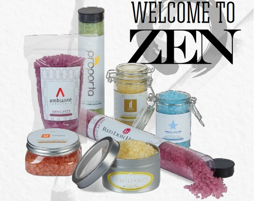 Custom decorated bath salts and bath bombs with your company logo for health and wellness.